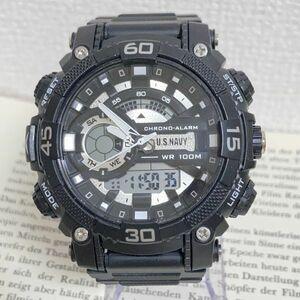 美品 ★U.SNAVY メンズ デジアナ 多機能 腕時計 ★ 3針 アラーム クロノ ブラック 稼動品 F5247