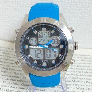★QUIKSILVER メンズ デジアナ 多機能 腕時計★ クイックシルバー 3針 アラーム クロノ タイマー シルバー 稼動品 F5302