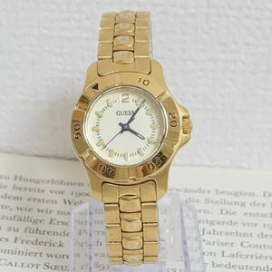 ★ GUESS 腕時計 ★ ゲス 3針 逆回転防止ベゼル ゴールド 稼動品 F5360