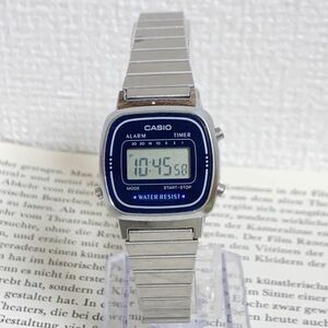 ★ CASIO デジタル 多機能 腕時計 ★ カシオ LA670W アラーム クロノ タイマー シルバー 稼動品 F5452