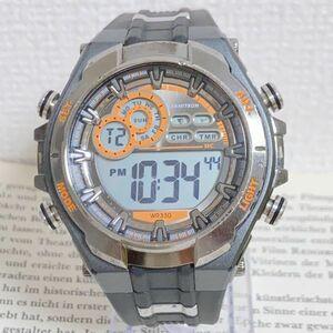 美品 ★ ARMITRON デジタル 多機能 メンズ 腕時計 ★ アーミトロン アラーム クロノ タイマー ダークグレー 稼動品 F5454