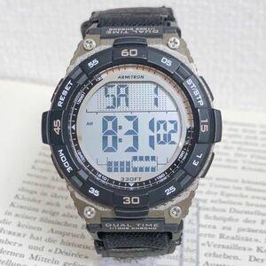 ★ ARMITRON デジタル 多機能 メンズ 腕時計 ★ アーミトロン アラーム クロノ 稼動品 F5480