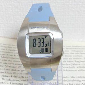美品 ★SPORTLINE 多機能 デジタル 腕時計★ スポーツライン アラーム クロノ タイマー シルバー 稼動品 F5536
