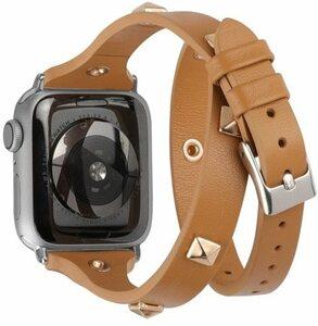 値下げ!【開封未使用品】Wearlizer Apple Watch 用レザーバンド ブラウン Series 5/4/3/2/1