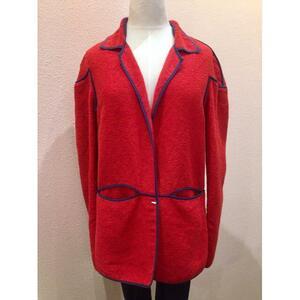 未使用 161437 FENDI フェンディ テーラードジャケット コットン 綿 パイル地 RED レッド 赤 サイズ44