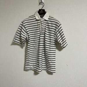 バーバリアン ラガーシャツ BARBARIAN 古着 ボーダー スタンドカラー サイズXS マリン半袖 ポロシャツ