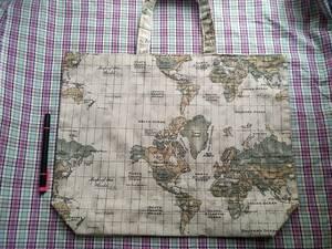 トートバッグ 世界地図 A4サイズ リバーシブル 綿麻 エコバッグ レッスンバッグ