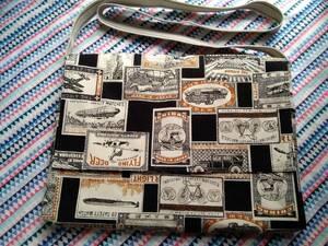 サコッシュ ショルダーバッグ A4サイズ 昭和レトロ マッチ柄 黒 帆布 メッセンジャーバッグ ハンドメイド 廃盤レア