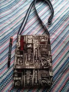 ポシェット 縦型 昭和レトロ柄 帆布 看板柄 チョコレート色 ハンドメイド
