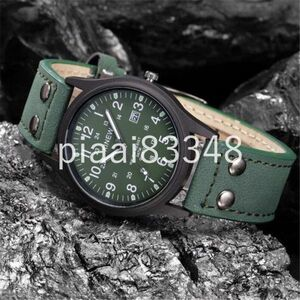 DM069:男性腕時計レロジオ masculino クラシックメンズ防水日付レザーストラップスポーツクォーツアーミー腕時計メンズク