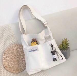 キャンパストートバッグ ショルダーバッグ マザーズバッグ エコバッグ ホワイト 帆布バッグ 韓国ファッション 新品未使用