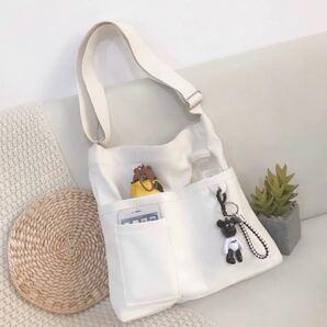新品未使用 ショルダーバッグ トートバッグ キャンパストートバッグ メッセンジャーバッグ キャンバス 帆布バッグ ホワイト 大容量