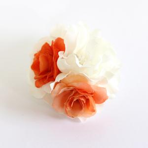 コサージュ/バイカラ― ツイン薔薇 花 ラインストーン パール 安全ピン ヘアクリップc27☆オレンジ/髪飾り ヘアアレンジ 浴衣