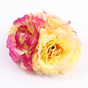 コサージュ/重ねづけでオシャレ度UP!バイカラ―お花3色 安全ピン ヘアクリップ c31☆赤x黄色/髪飾り 花火大会 浴衣
