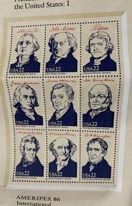 未使用、USA貴重切手、アメリカの初代大統領ワシントンから35代大統領特別記念発行希少切手。アメリカでも入所困難、ハミングバードと普通