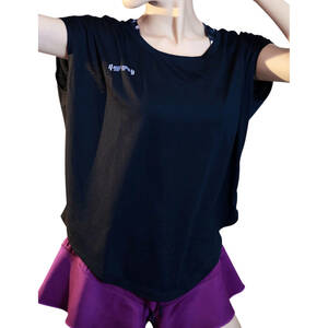 ヨガウェア レディース トップス 半袖 Tシャツ スポーツウェア 伸縮 ストレッチ 速乾 吸汗 ヨガ ホットヨガ ブラック Mサイズ