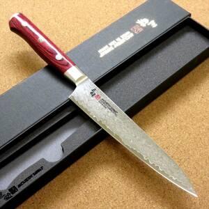 関の刃物 ペティナイフ 15cm (150mm) 三昧 クラシック プロ ダマスカス 33層鋼 VG-10 赤合板ハンドル 果物の皮むき 小型ナイフ 国産日本製