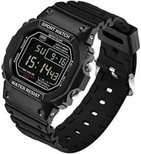 ブラック-男性 スタンダード腕時計 スポーツウォッチ メンズ レディース 30M防水 夜光 日付曜日表示 長さ調整可 多機能 カ