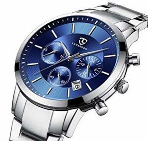 1-シルバーブルー 腕時計 メンズ腕時計 ファッション カジュアル ビジネス 多機能 クロノグラフ ステンレス鋼 防水 日付表示