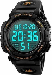 01-ゴールド 腕時計 メンズ デジタル スポーツ 50メートル防水 おしゃれ 多機能 LED表示 アウトドア 腕時計(ゴールド