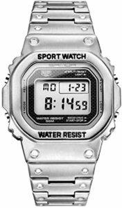 シルバー Un bel tocco デジタル腕時計 フルメタル メンズ スポーツウォッチ 50メートル防水 LEDバックライト付