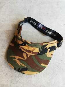 90s STUSSY サンバイザー カモフラ 迷彩 L XL ヴィンテージ 帽子 キャップ OLD