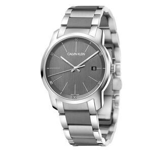 【送料無料】カルバンクライン 腕時計 43mm スイス製 グレー メンズ Calvin Klein ダイヤル ステンレススチール/シリコンウォッチ