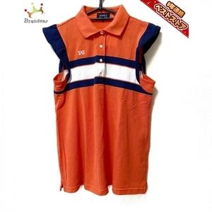 パーリーゲイツ PEARLY GATES ノースリーブポロシャツ サイズ1 S - オレンジ×ダークネイビー×白 レディース ボーダー トップス