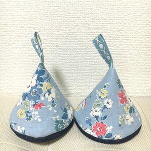 ★三角鍋つかみ★ストウブ ル・クルーゼ ダッチオーブン キャスキッドソン 花柄 ハンドメイド ブルー