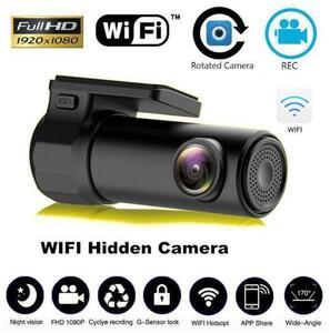 超安★ドライブレコーダー 円柱型 車載カメラ Gセンサー WDR 駐車監視 モーション検知 WIFI ブラック
