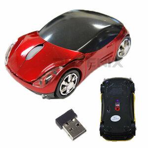 7643 ワイヤレスマウス 赤 車型 無線 光学式 USB コードレス PC 周辺機器 パソコン 電池 無線マウス 2ボタン オフィス 出張 遊び心