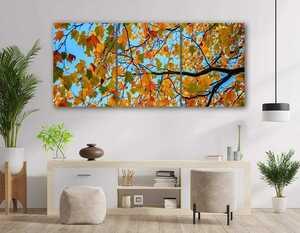 アートパネル インテリア 絵 画 秋 葉 枝 森 風景 自然 緑 秋 落葉 紅葉 グリーン 壁飾り 背景 壁掛けアート フレーム付き 完成品 観葉植物
