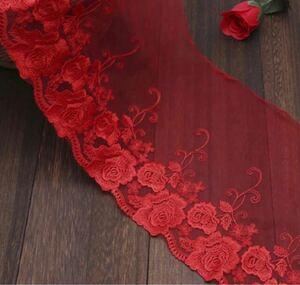 チュールレース赤いバラ