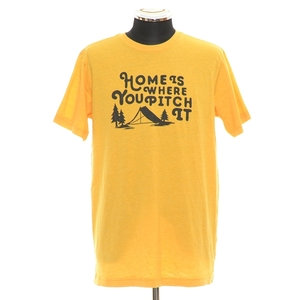 ◆395306 THE NORTH FACE ザ ノースフェイス 半袖Tシャツ クルーネック Home is Where You Pitch It サイズM メンズ イエロー プリント