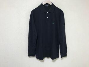 本物パーリーゲイツPEARLYGATESコットン長袖ポロシャツ旅行トラベルビジネス4ゴルフウェアメンズ日本製紺ネイビーXL
