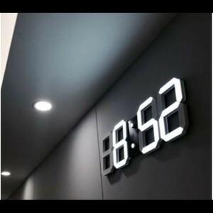 インテリア 壁掛け時計 デジタル ウォールクロック LED 時計 目覚まし時計 常夜灯 ホワイト 選べる6色