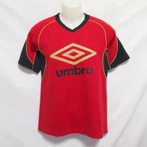 古着 メンズM UMBRO/アンブロ サッカー フットサル プラクティスシャツ プラシャツ 半袖 練習着 レッド UBS7231
