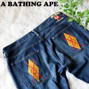 アベイシングエイプ A BATHING APE 刺繍デニムパンツ ジーンズ バックロゴ