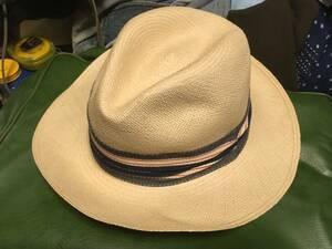 2108エクアドル製Ecua-Andinoエクア アンディーノgenuine panama hatデニムDENIMリボン中折れ パナマ ハット帽子ストロー麦わら フェドラ