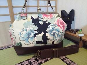 訳有り 黒猫 牡丹 クリーム 和 モダン ネコ 花 がま口 3way ショルダー バッグ ハンドメイド 手提げ 斜めかけ 和装 着物 長財布 入ります