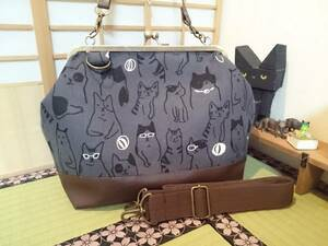 シュール にゃんこ いっぱい 猫 ネコ グレー がま口 3way ショルダー バッグ ハンドメイド 手提げ 斜めかけ 和装 着物 長財布 入ります