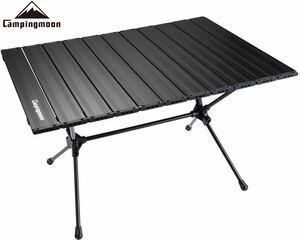 CAMPING MOON キャンピングムーン スリムロールテーブル 高さ2段調整可 収納ケース付 T520 ブラック 送料無料