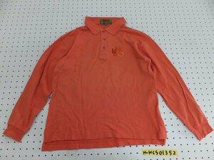 〈送料280円〉KENZO GOLF ケンゾーゴルフ メンズ 日本製 ロゴ刺繍 長袖ポロシャツ 1 オレンジ