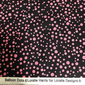 ロラライハリス balloon dot ブラック×ピンク生地