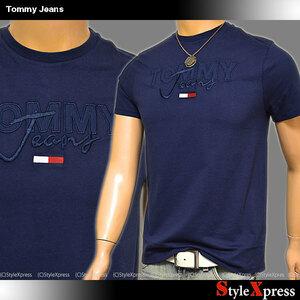 SALE トミージーンズ 紺 Sサイズ 刺繍ロゴ Tシャツ フラッグ刺繍 トミーヒルフィガー TOMMY HILFIGER ネイビー Tommy Jeans メンズ 正規品