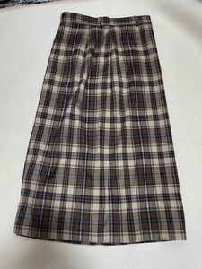 GU ジーユー チェックナロースカート BROWN  ブラウン タイトスカート ロングスカート Lサイズ