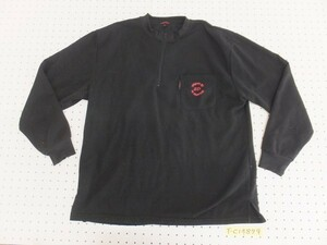 〈レターパック発送〉Ed Hardy エドハーディー メンズ 裏起毛 バックロゴプリント ハーフジップカットソー 大きいサイズ LL 黒赤