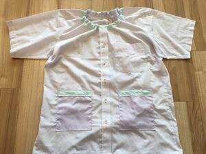 ●ハンドメイド●ワイシャツリメイクスモック 半袖 小学校 図工 習字 ストライプ柄 紫色