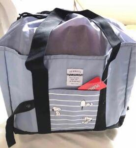 エコバッグ レジかご 折りたたみタイプ 保冷はっ水素材使用 L ビッグサイズスヌーピー グレーガッチリとしたバッグ