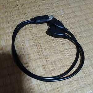 ☆ USB 二股ケーブル、35cm USB (オス - メスx 2) Y字2分岐ケーブル☆